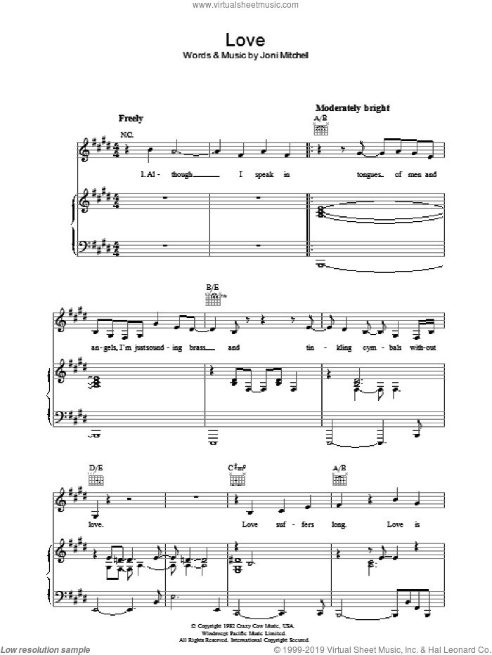 Love sheet music for voice, piano or guitar by Joni Mitchell, intermediate skill level