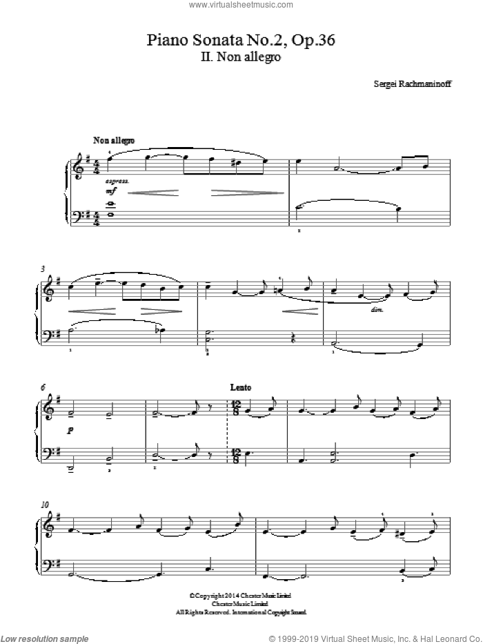 Piano Sonata No. 2, Op. 36 - 2nd Movement sheet music for piano solo by Serjeij Rachmaninoff, classical score, easy skill level