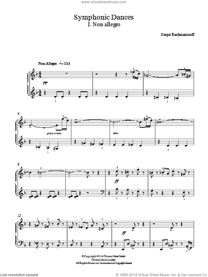 Symphonic Dances - 1st Movement, (easy) sheet music for piano solo by Serjeij Rachmaninoff, classical score, easy skill level
