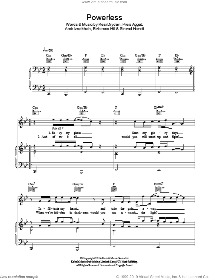 Powerless sheet music for voice, piano or guitar by Sinead Harnett, Amir Izadkhah, Kesi Dryden and Piers Aggett. Score Image Preview.