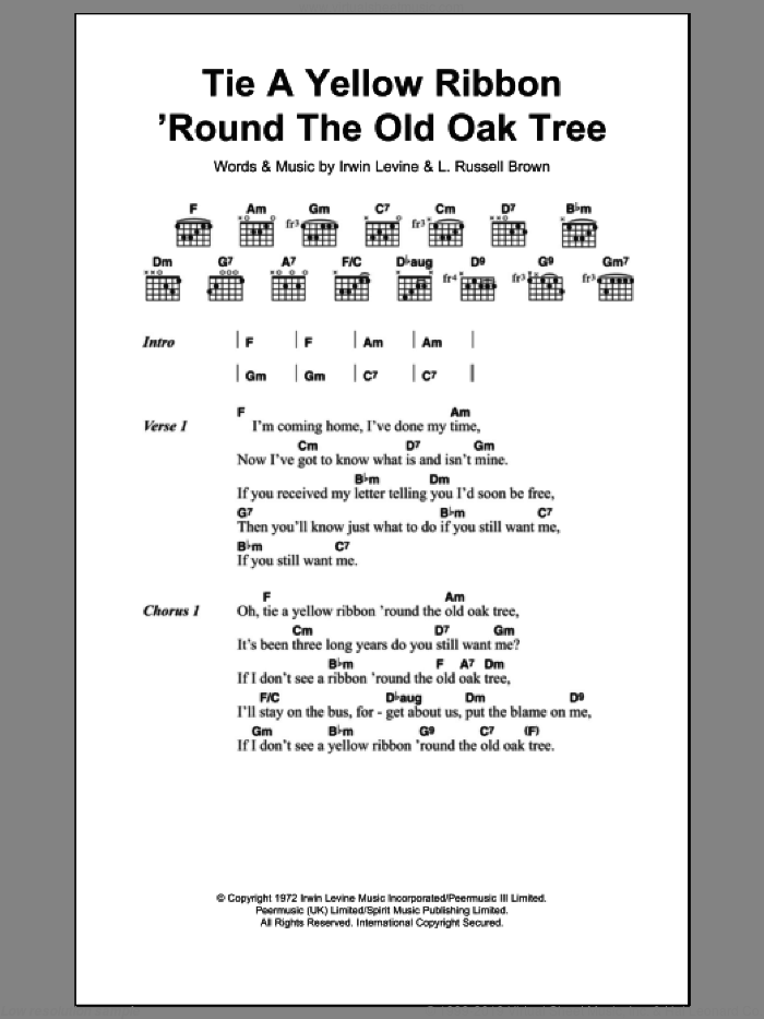Tie A Yellow Ribbon 'Round The Old Oak Tree sheet music for guitar (chords) by Tony Orlando and Irwin Levine, intermediate guitar (chords). Score Image Preview.
