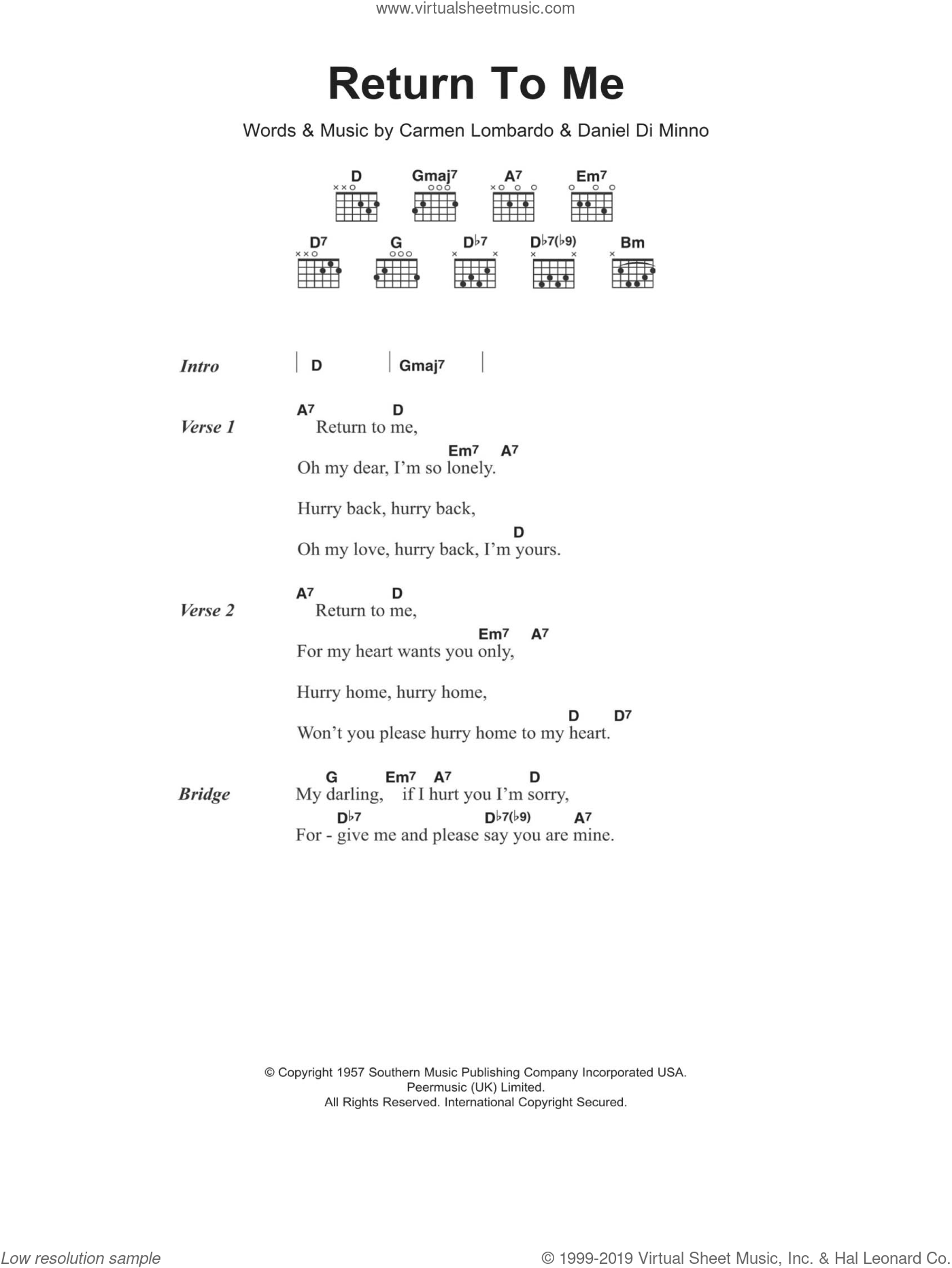 Return To Me sheet music for guitar (chords) by Dean Martin, intermediate. Score Image Preview.