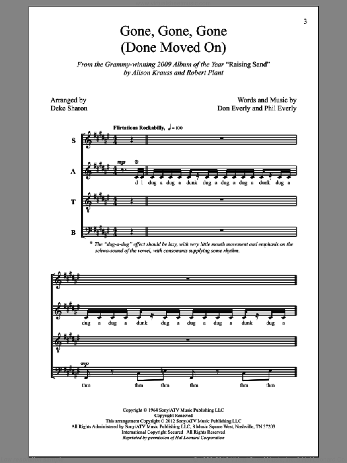 Gone, Gone, Gone (Done Moved On) sheet music for choir and piano (SATB) by Don Everly, Alison Krauss, Robert Plant, Deke Sharon and Phil Everly. Score Image Preview.
