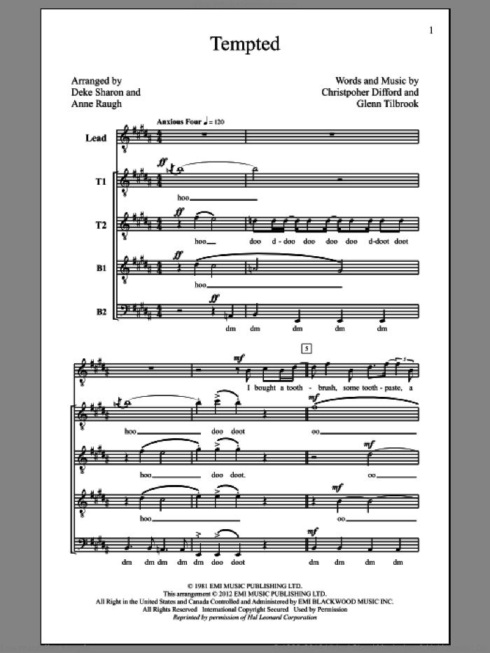 Tempted sheet music for choir and piano by Glenn Tilbrook
