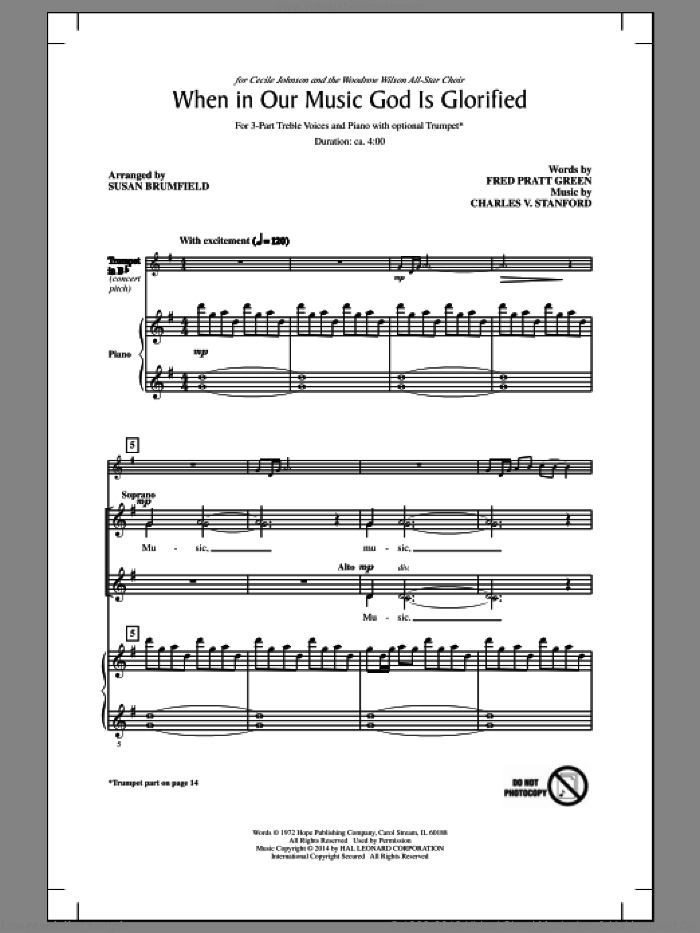 When In Our Music God Is Glorified sheet music for choir (3-Part Treble) by Charles Villiers Stanford, Fred Pratt Green and Susan Brumfield, intermediate skill level