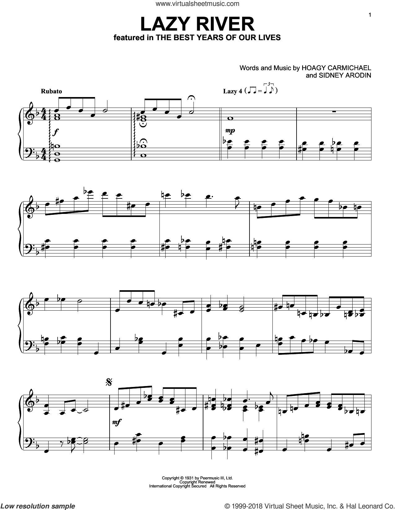 Lazy River sheet music for piano solo by Sidney Arodin, Bobby Darin and Hoagy Carmichael. Score Image Preview.