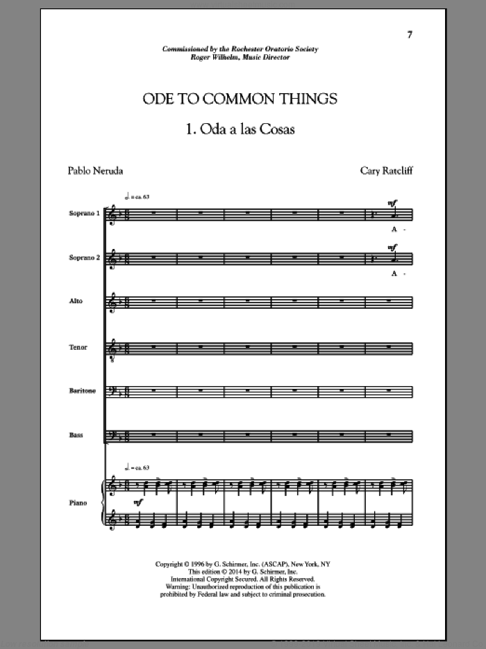 Ode To Common Things sheet music for choir (SATB) by Cary Ratcliff. Score Image Preview.