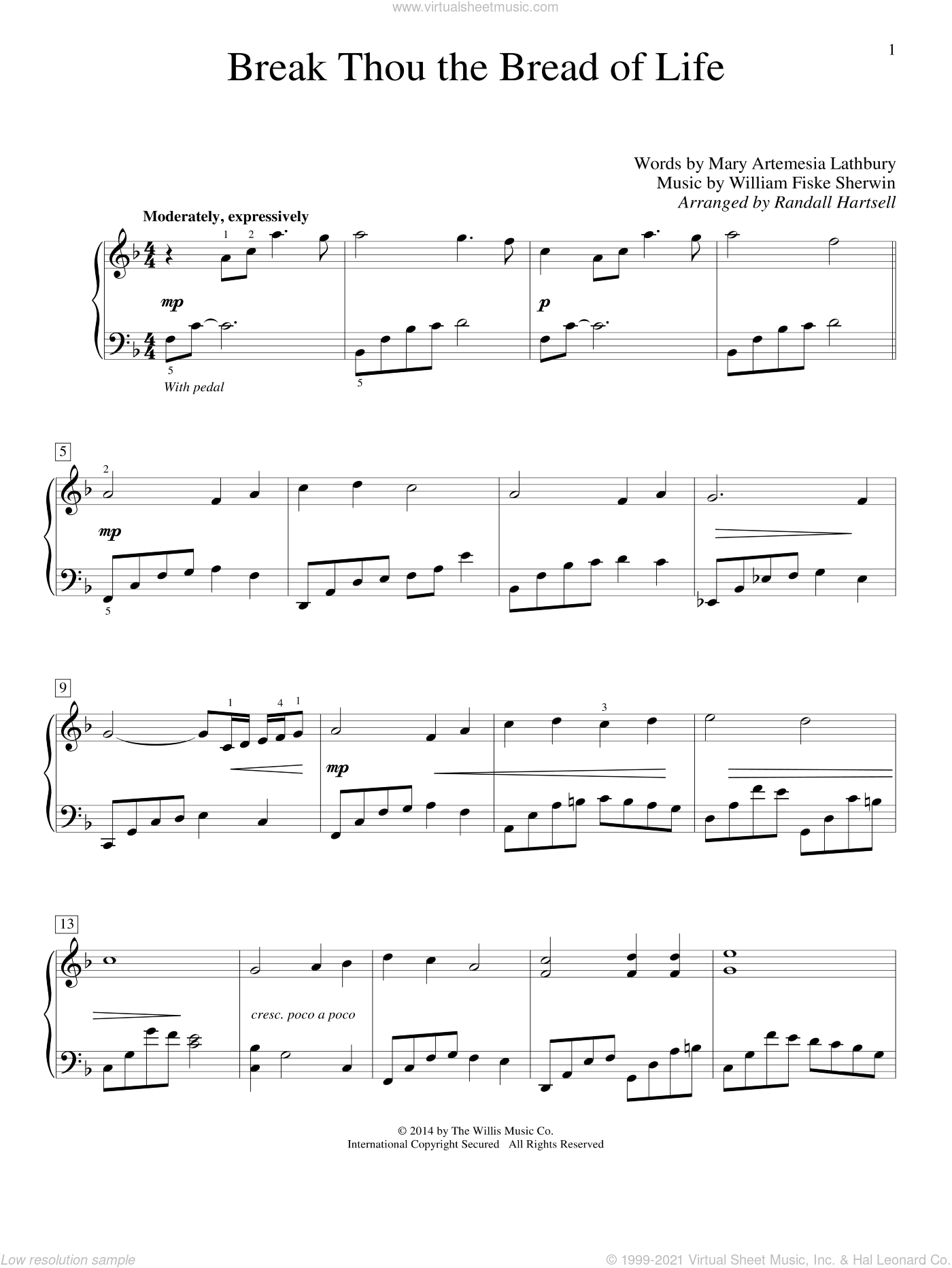 Break Thou The Bread Of Life sheet music for piano solo (elementary) by Randall Hartsell, Mary Artemesia Lathbury and William Sherwin, beginner piano (elementary)