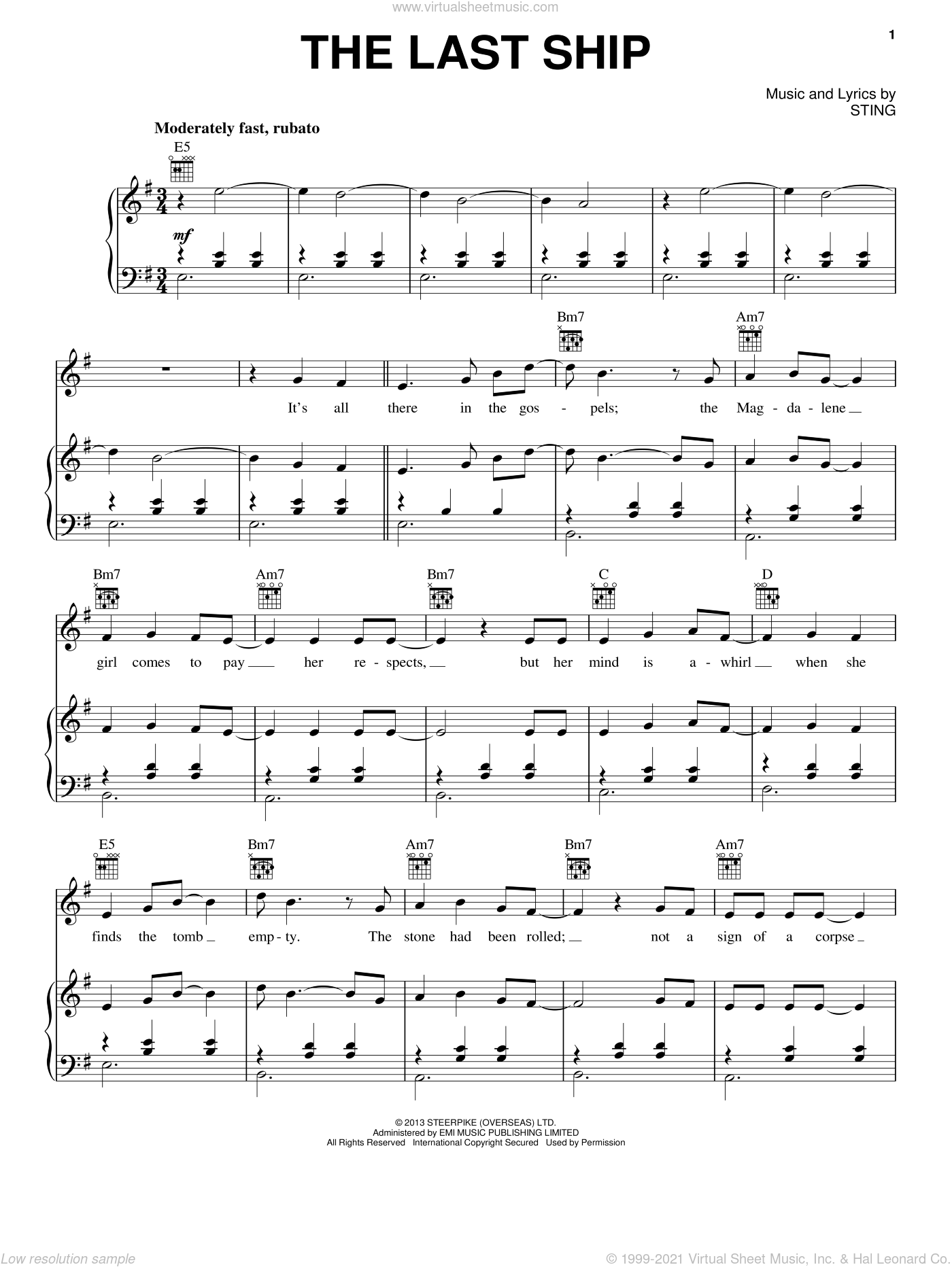 The Last Ship sheet music for voice, piano or guitar by Sting, intermediate. Score Image Preview.