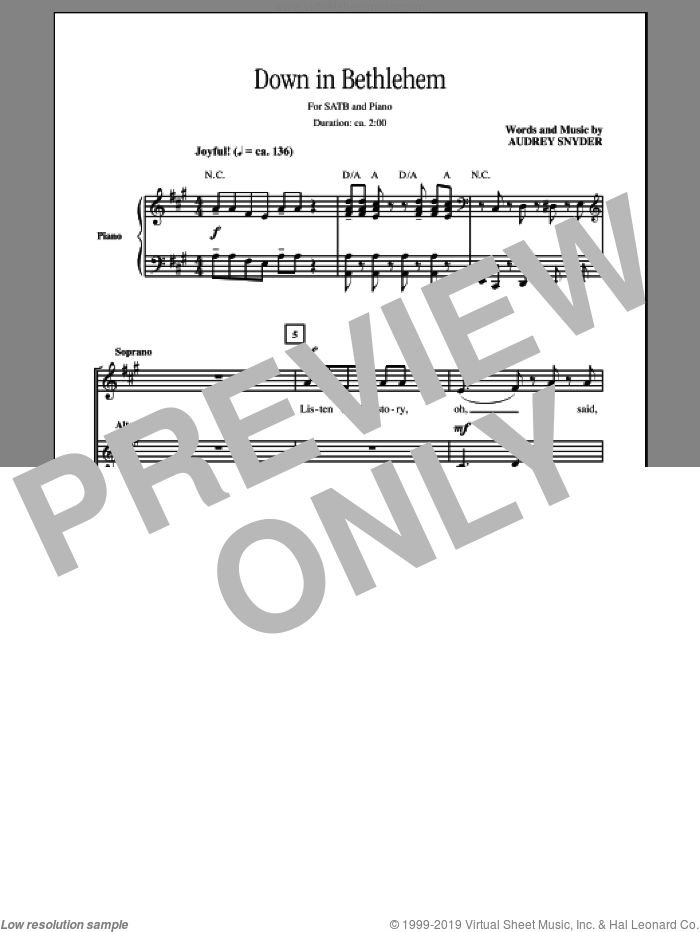 Down In Bethlehem sheet music for choir and piano (SATB) by Audrey Snyder. Score Image Preview.