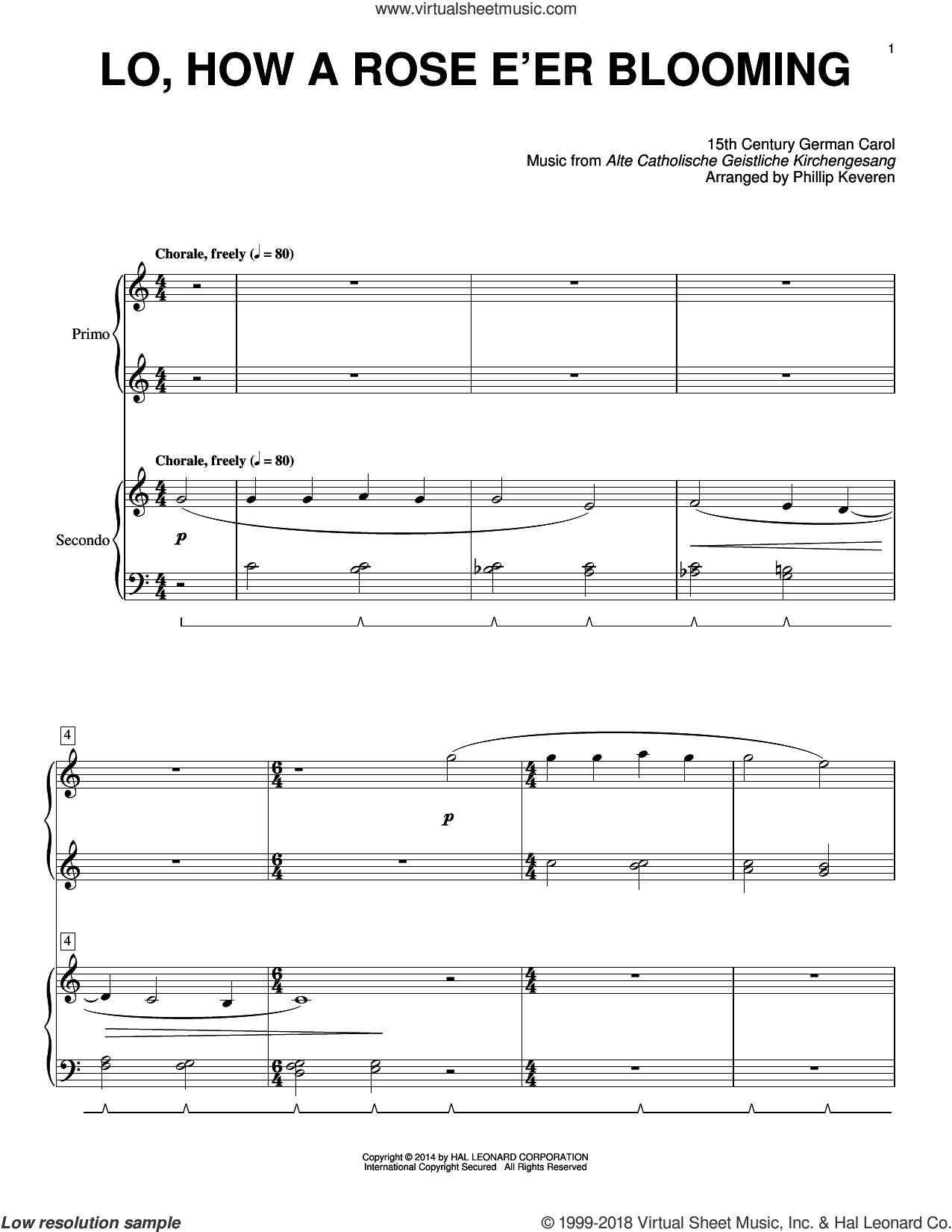 Lo, How A Rose E'er Blooming sheet music for piano four hands (duets) by Phillip Keveren. Score Image Preview.