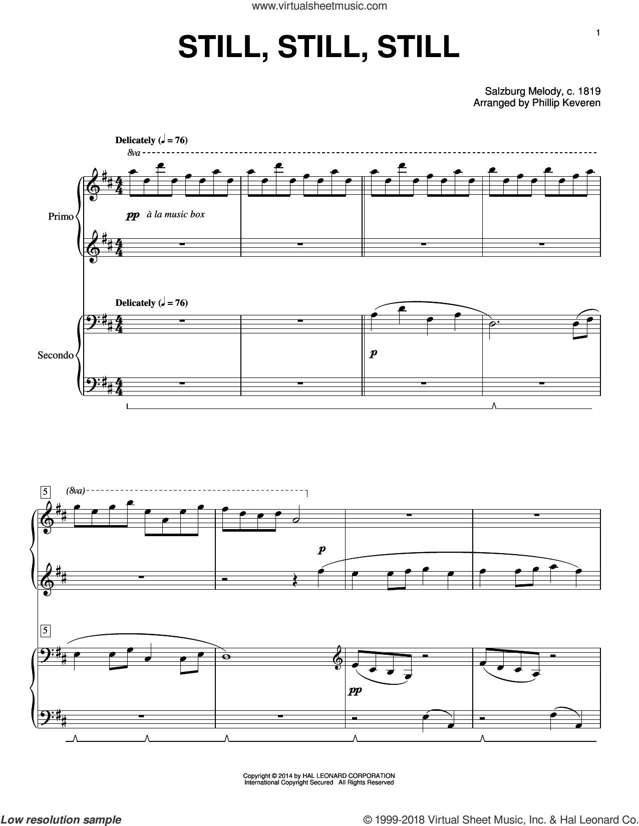 Still, Still, Still sheet music for piano four hands by Phillip Keveren, intermediate. Score Image Preview.