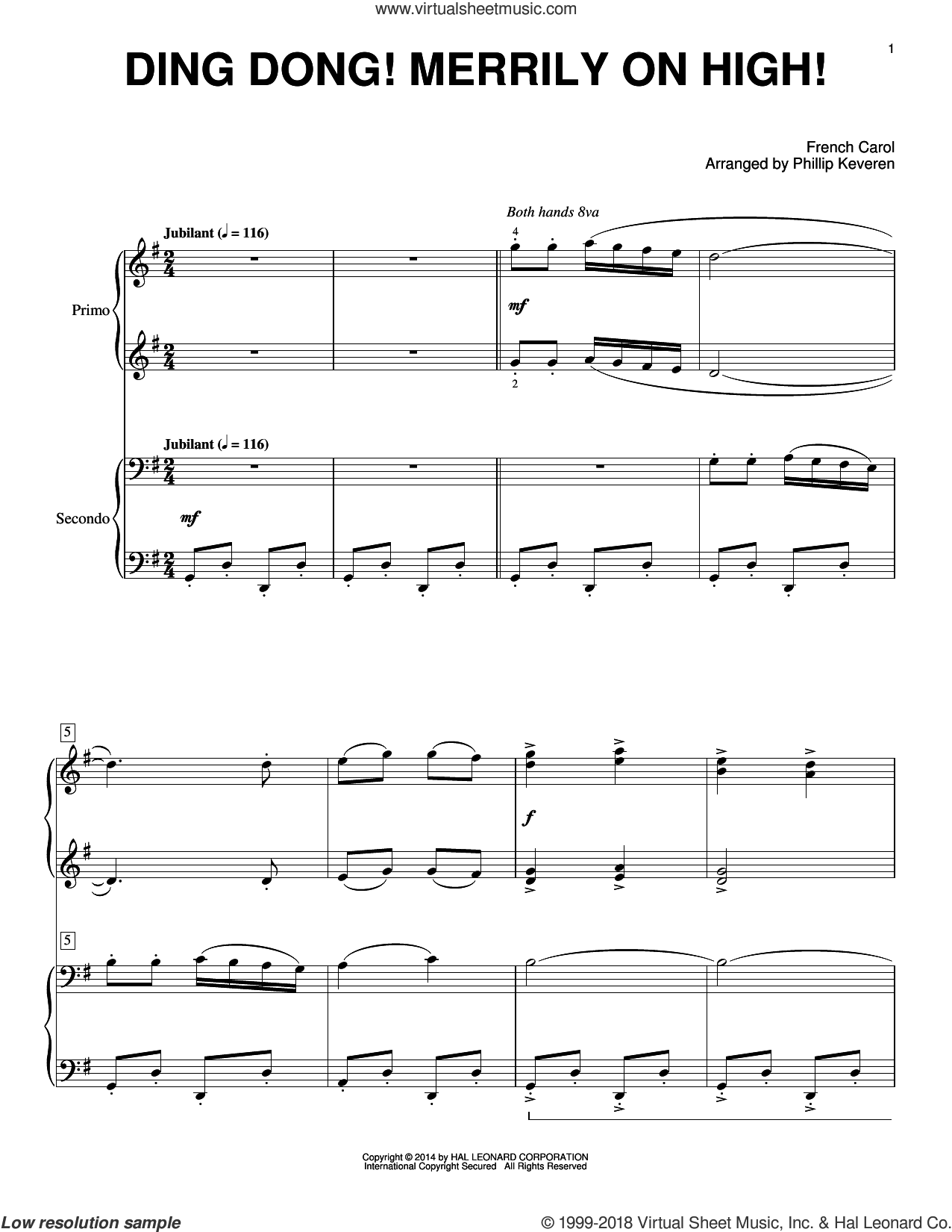 Ding Dong! Merrily On High! sheet music for piano four hands by Phillip Keveren, intermediate skill level