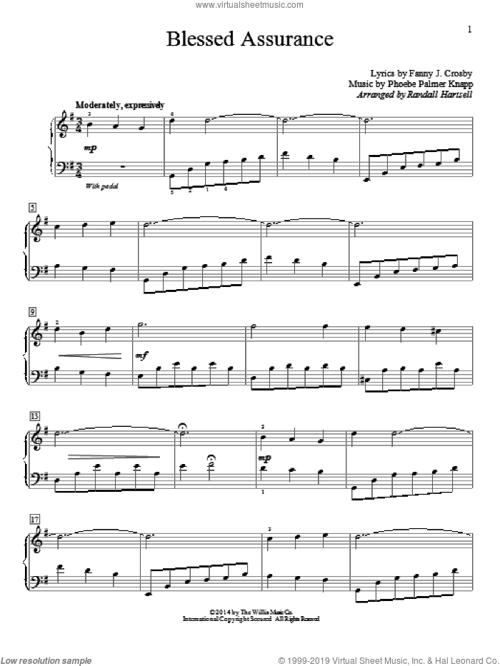 Blessed Assurance sheet music for piano solo (elementary) by Randall Hartsell, Fanny J. Crosby and Phoebe Palmer Knapp. Score Image Preview.