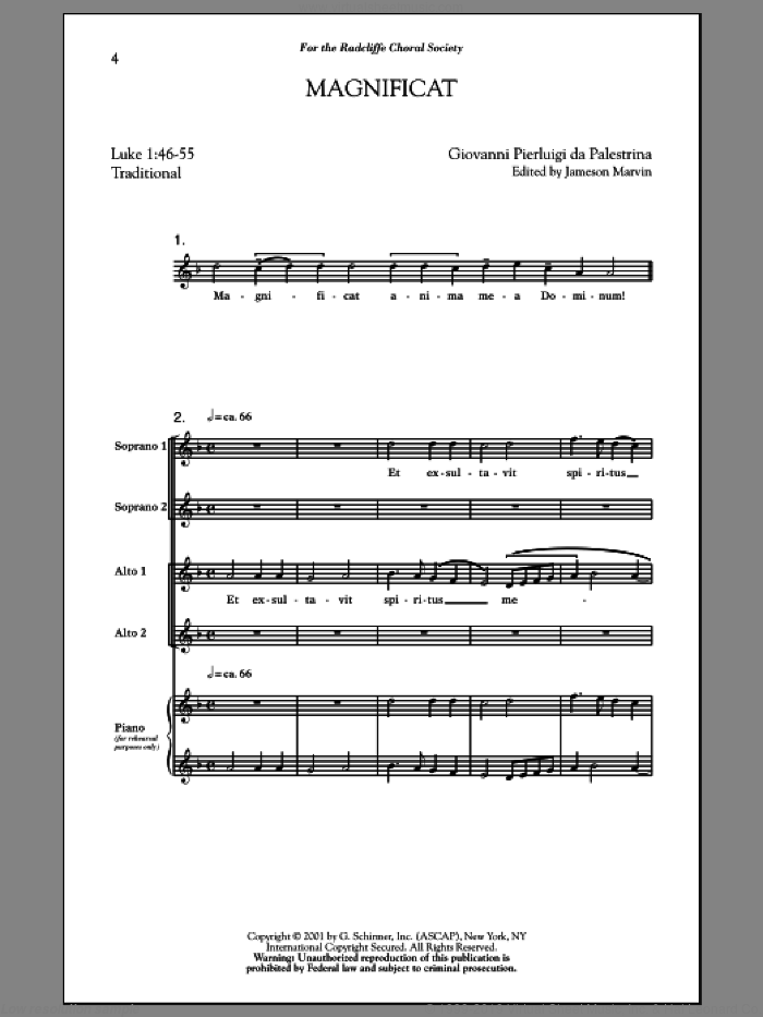Magnificat sheet music for choir (soprano voice, alto voice, choir) by Jameson Marvin, intermediate choir (soprano voice, alto voice, choir). Score Image Preview.
