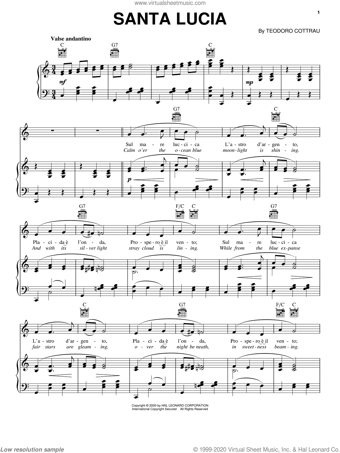 Santa Lucia sheet music for voice, piano or guitar by Teodoro Cottrau, intermediate skill level