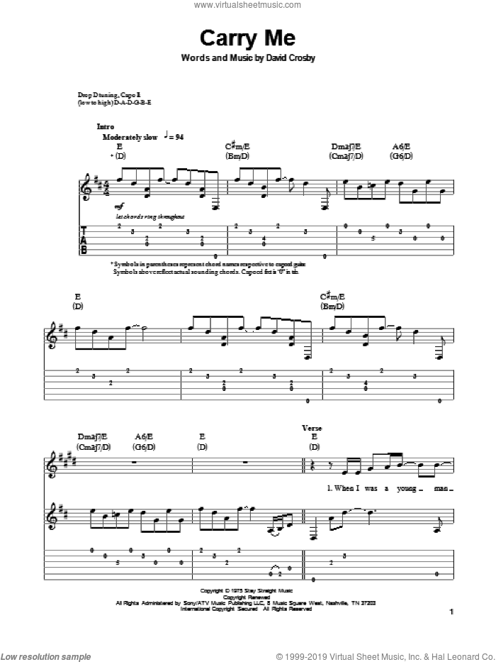 Carry Me sheet music for guitar (tablature, play-along) by David Crosby and Crosby, Stills & Nash. Score Image Preview.