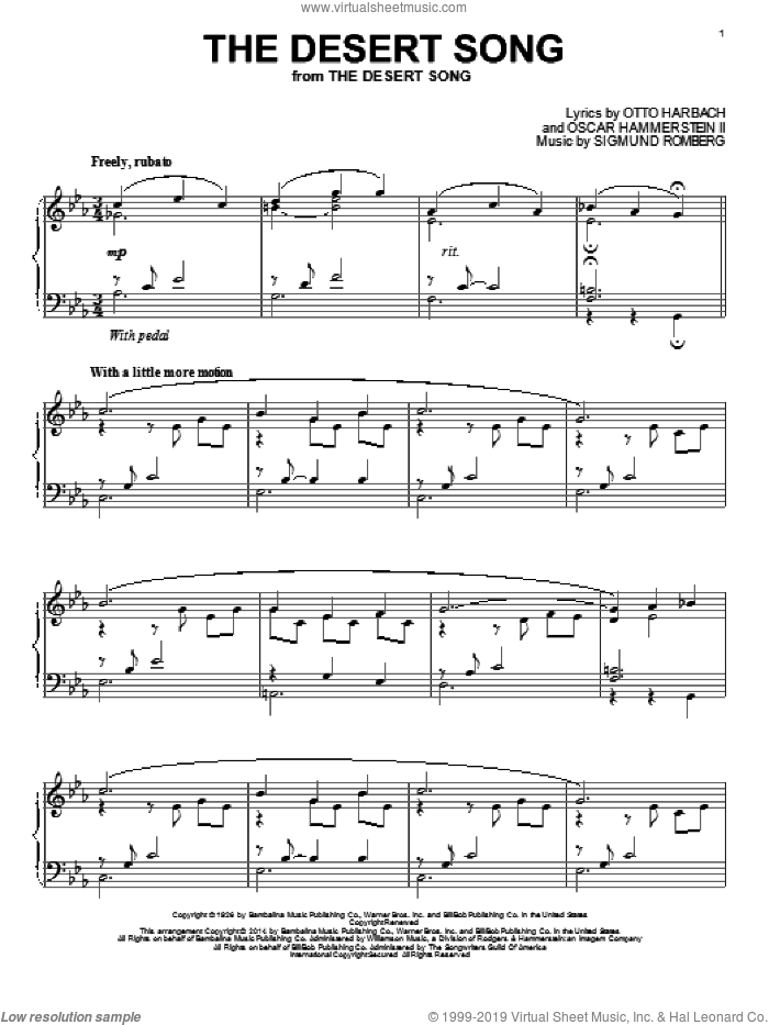 The Desert Song sheet music for piano solo by Otto Harbach, Oscar II Hammerstein and Sigmund Romberg, intermediate skill level