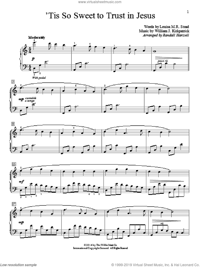 'Tis So Sweet To Trust In Jesus sheet music for piano solo (elementary) by William J. Kirkpatrick, Louisa M.R. Stead and Randall Hartsell. Score Image Preview.