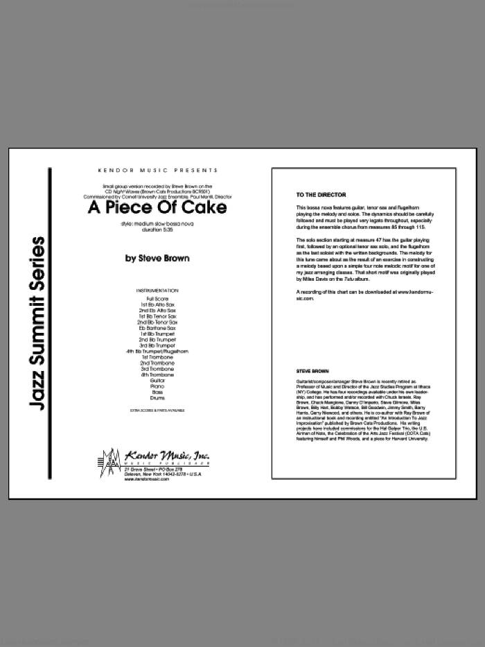 A Piece Of Cake (COMPLETE) sheet music for jazz band by Steve Brown, intermediate