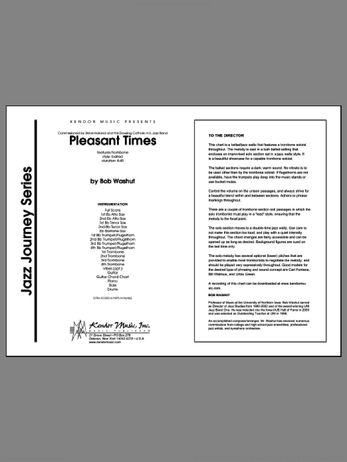 Pleasant Times (COMPLETE) sheet music for jazz band by Bob Washut, intermediate