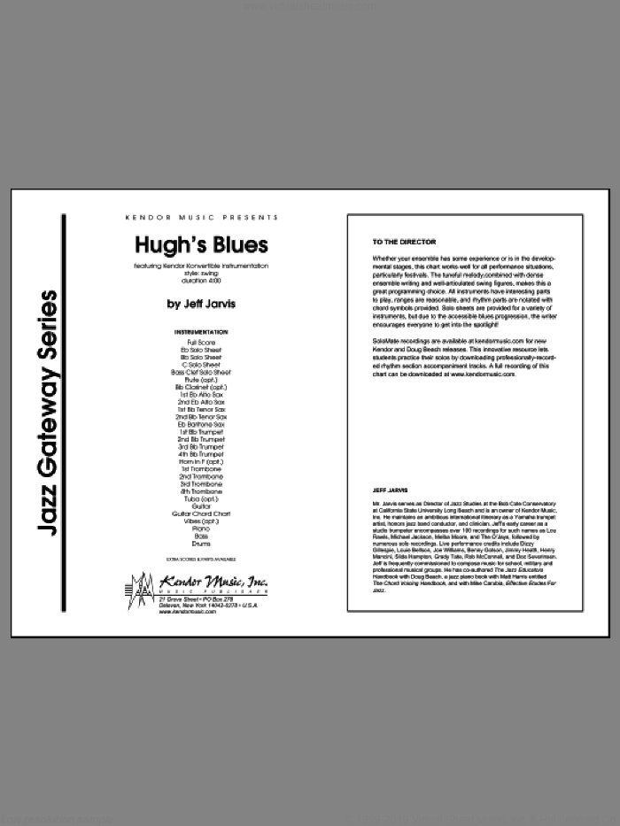 Hugh's Blues (COMPLETE) sheet music for jazz band by Jeff Jarvis, intermediate. Score Image Preview.