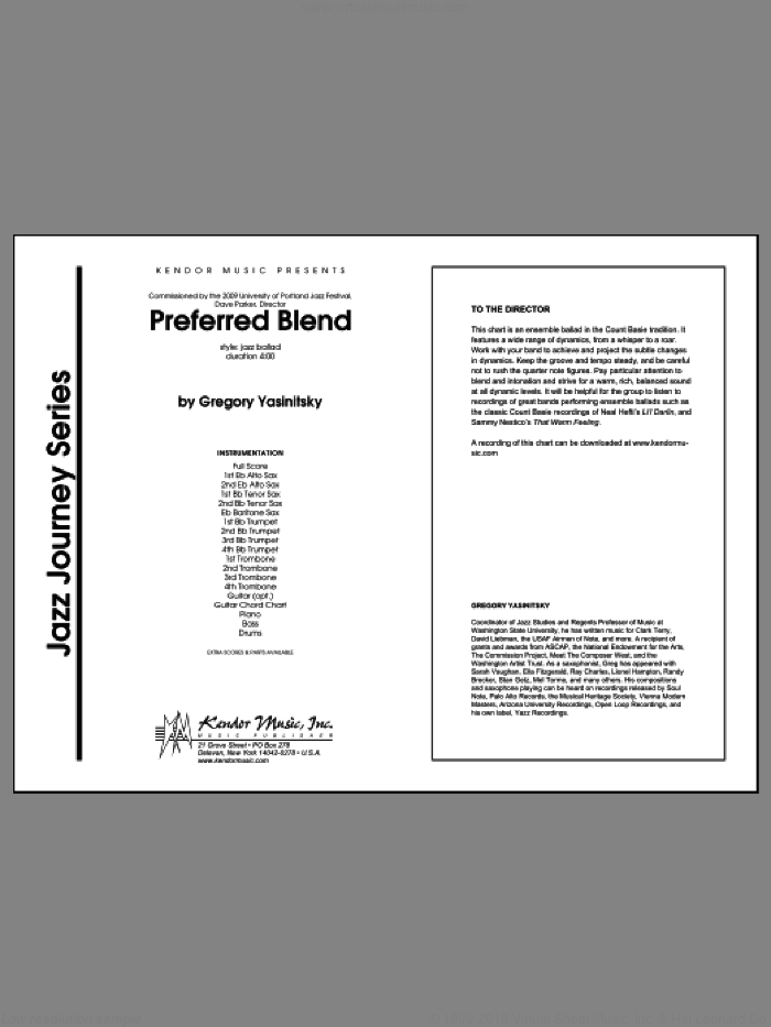 Preferred Blend (COMPLETE) sheet music for jazz band by Gregory Yasinitsky, intermediate. Score Image Preview.