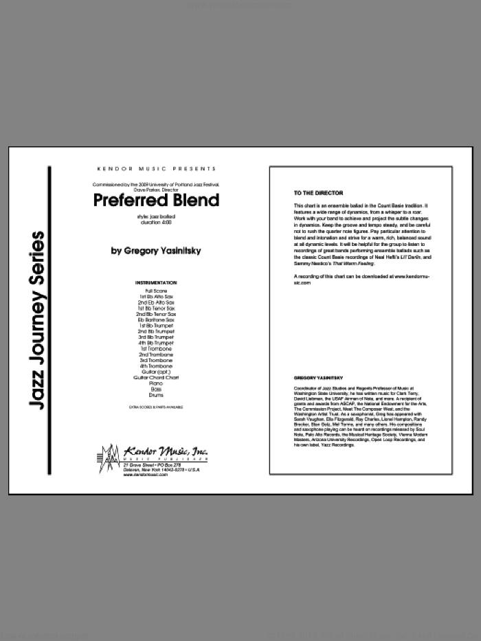 Preferred Blend (COMPLETE) sheet music for jazz band by Gregory Yasinitsky, intermediate skill level