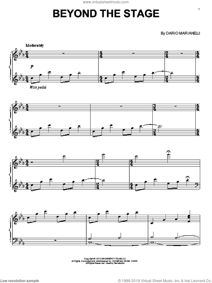 Beyond The Stage sheet music for piano solo by Dario Marianelli, classical score, intermediate skill level