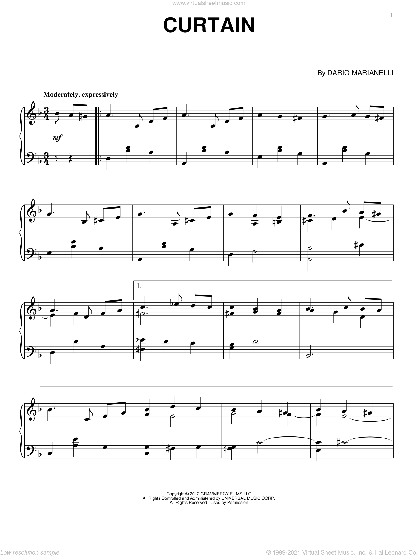 Curtain sheet music for piano solo by Dario Marianelli