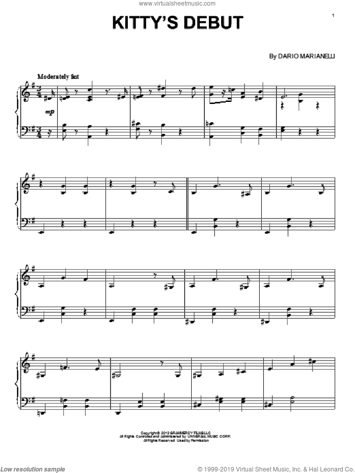 Kitty's Debut sheet music for piano solo by Dario Marianelli, classical score, intermediate skill level