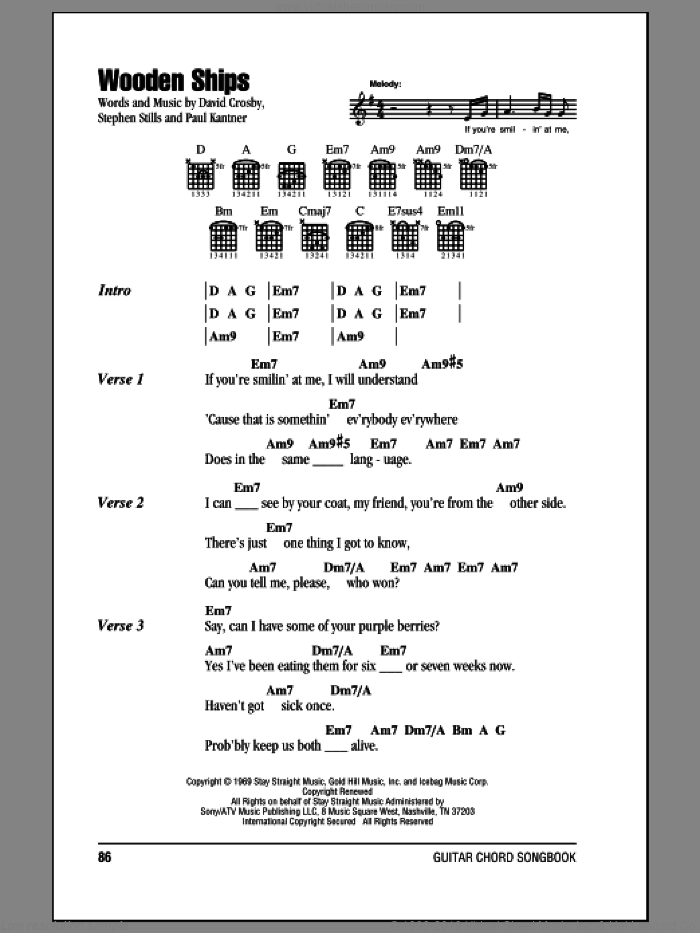 Wooden Ships sheet music for guitar (chords) by Crosby, Stills & Nash, David Crosby, Paul Kantner and Stephen Stills, intermediate