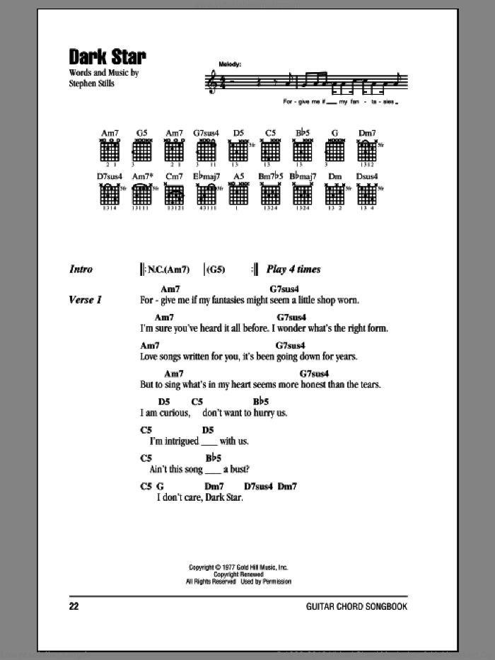 Dark Star sheet music for guitar (chords) by Crosby, Stills & Nash and Stephen Stills, intermediate. Score Image Preview.