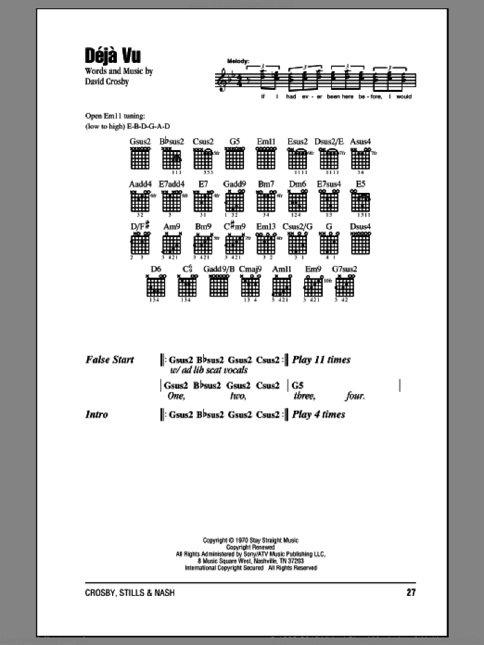 Deja Vu sheet music for guitar (chords) by David Crosby