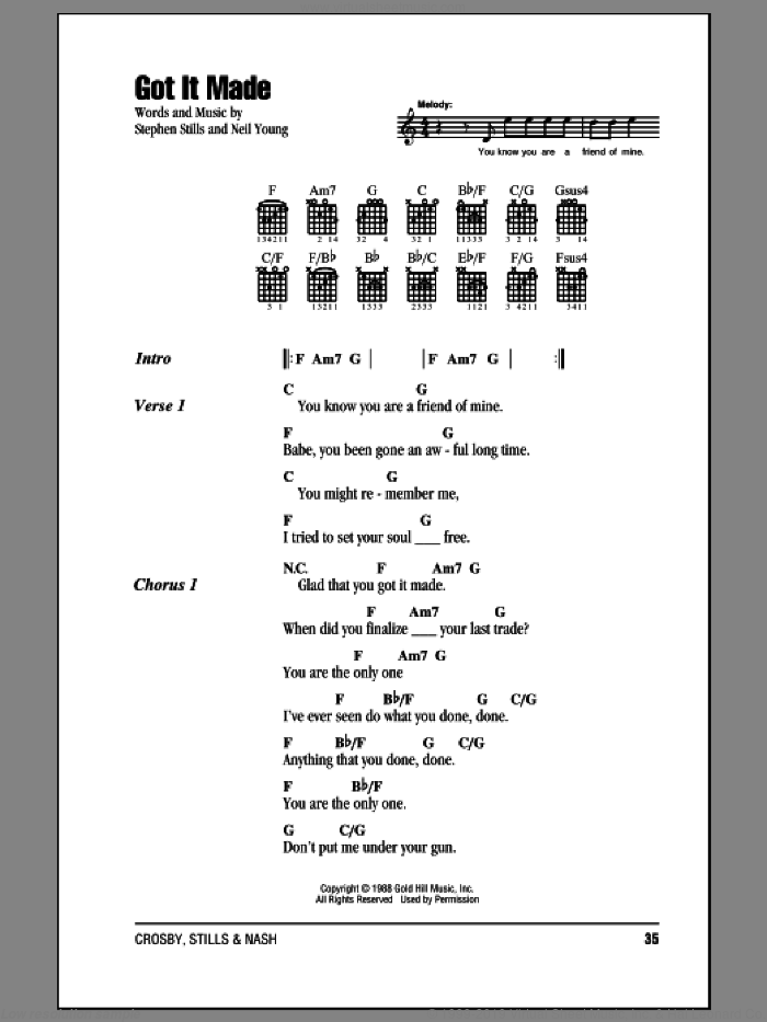 Got It Made sheet music for guitar (chords) by Crosby, Stills & Nash, Neil Young and Stephen Stills, intermediate. Score Image Preview.