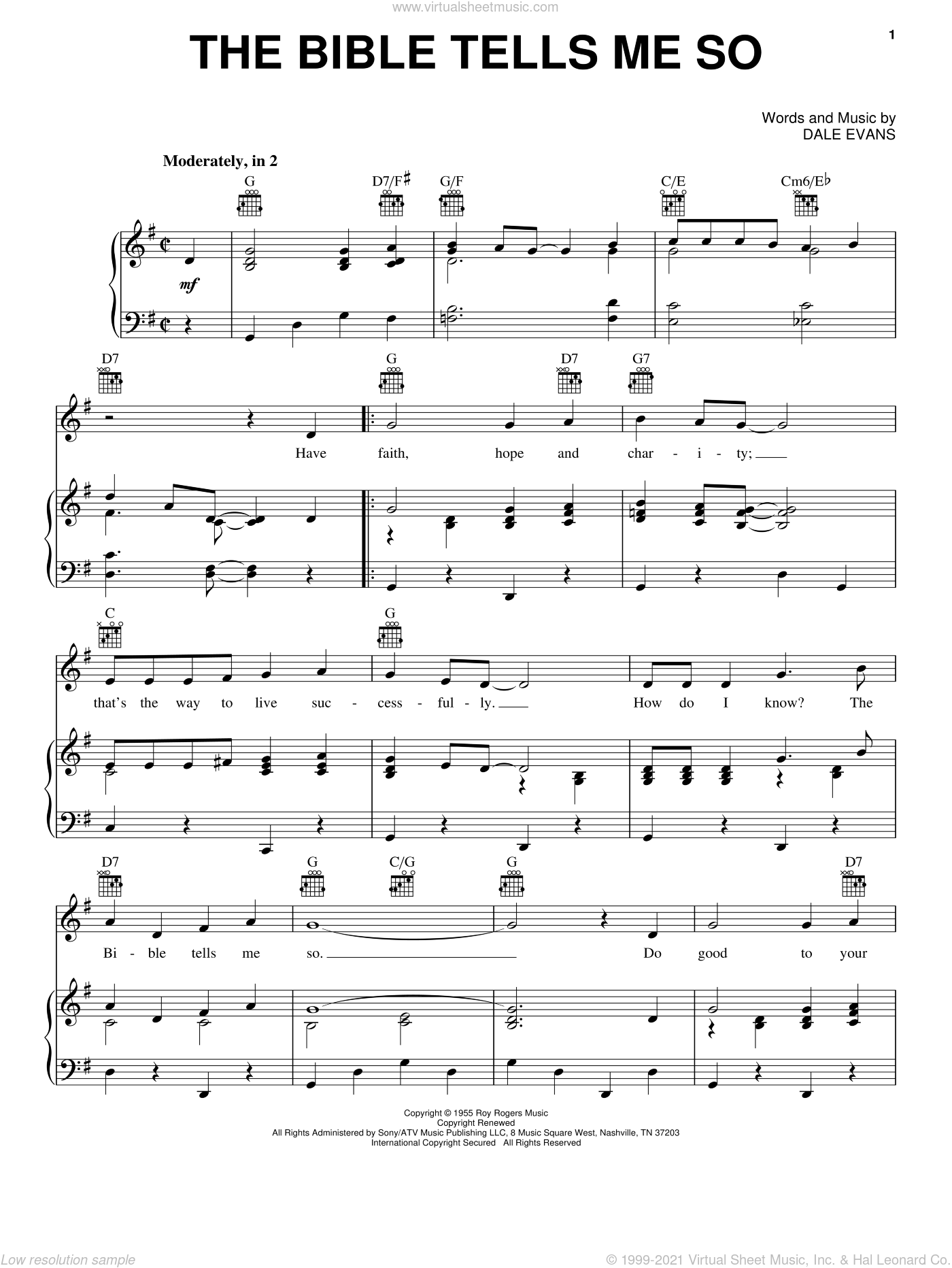 The Bible Tells Me So sheet music for voice, piano or guitar by Dale Evans