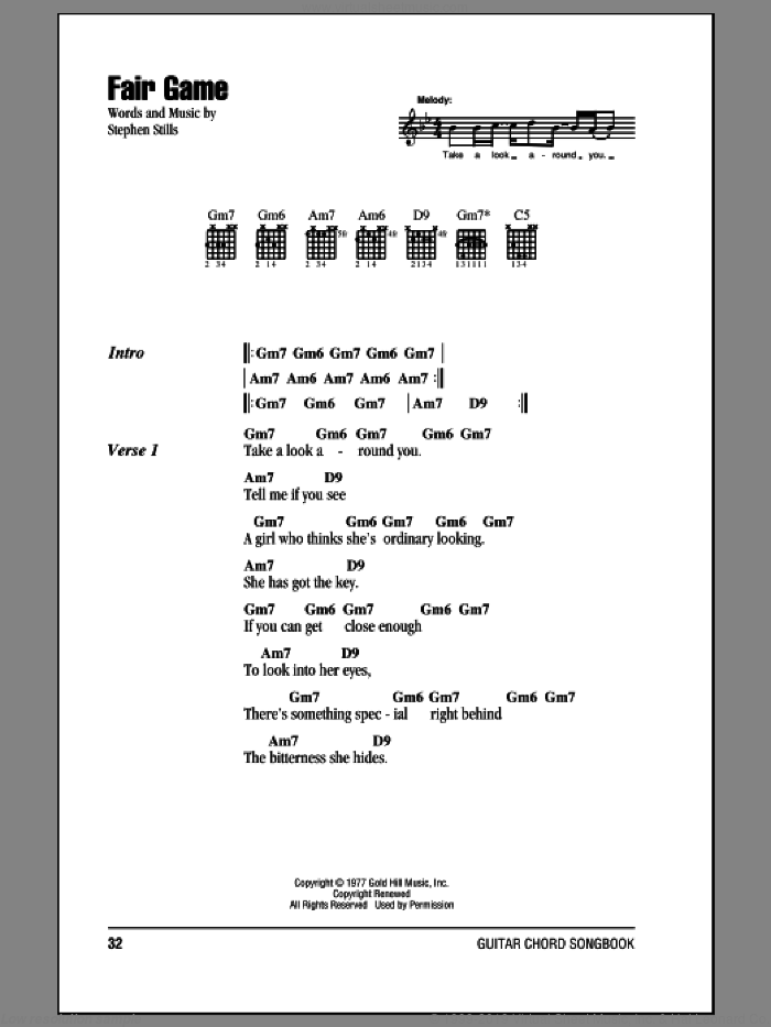 Fair Game sheet music for guitar (chords) by Crosby, Stills & Nash and Stephen Stills, intermediate guitar (chords). Score Image Preview.