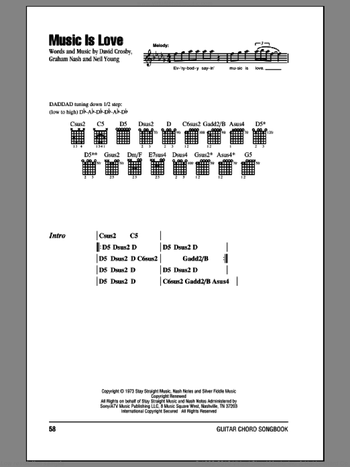 Music Is Love sheet music for guitar (chords) by Crosby, Stills & Nash, Graham Nash and Neil Young, intermediate guitar (chords). Score Image Preview.