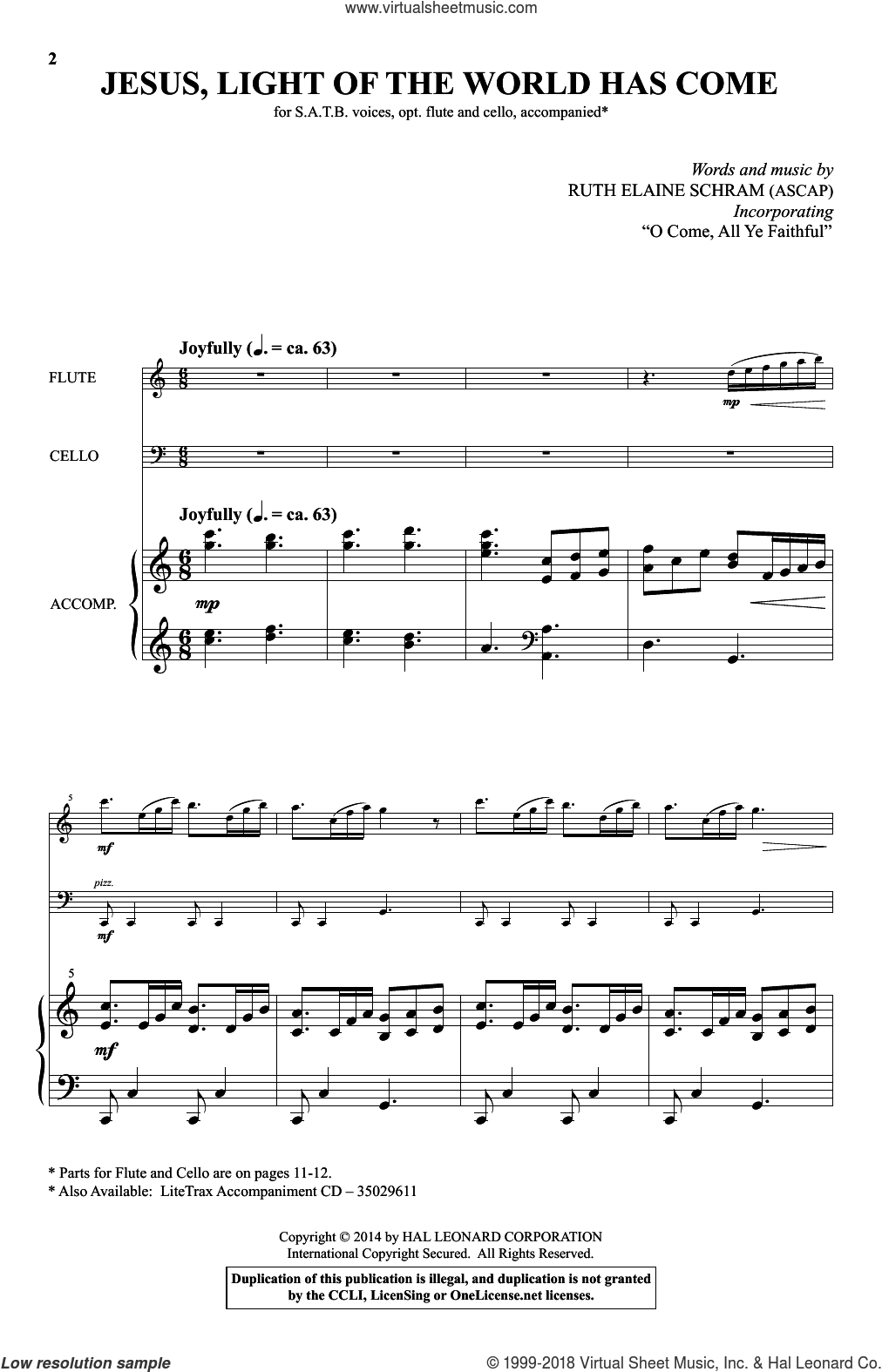 Jesus, Light Of The World Has Come sheet music for choir (SATB) by Ruth Elaine Schram, intermediate choir (SATB). Score Image Preview.