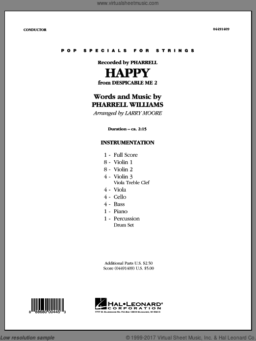 Happy (from Despicable Me 2) (COMPLETE) sheet music for orchestra by Pharrell