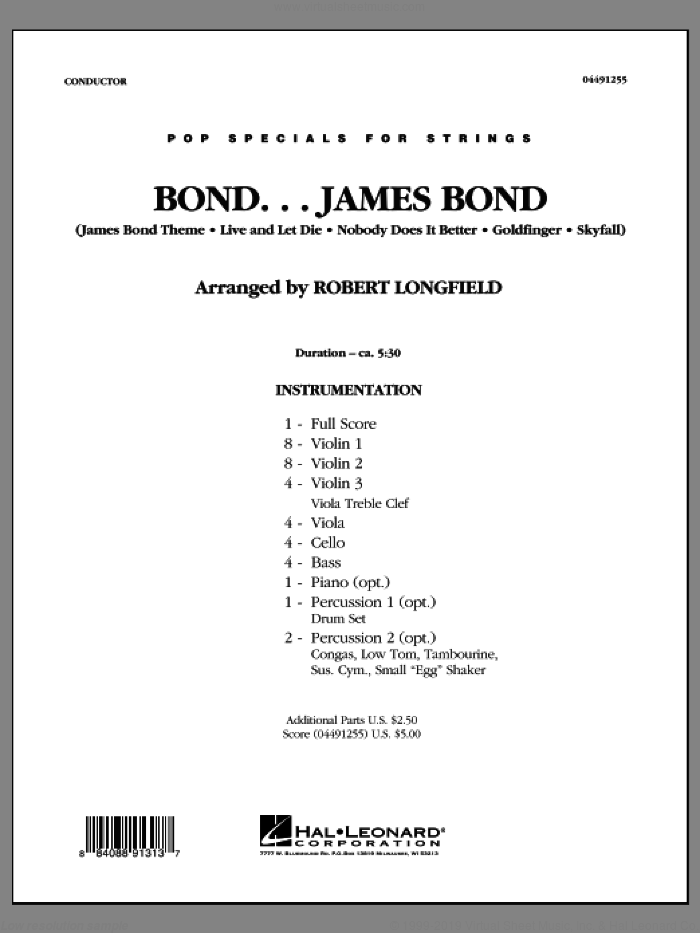 Bond...James Bond (COMPLETE) sheet music for orchestra by Robert Longfield, intermediate skill level
