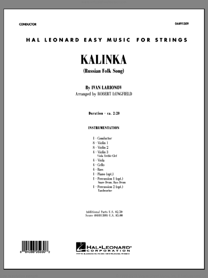 Kalinka (COMPLETE) sheet music for orchestra by Robert Longfield, intermediate. Score Image Preview.