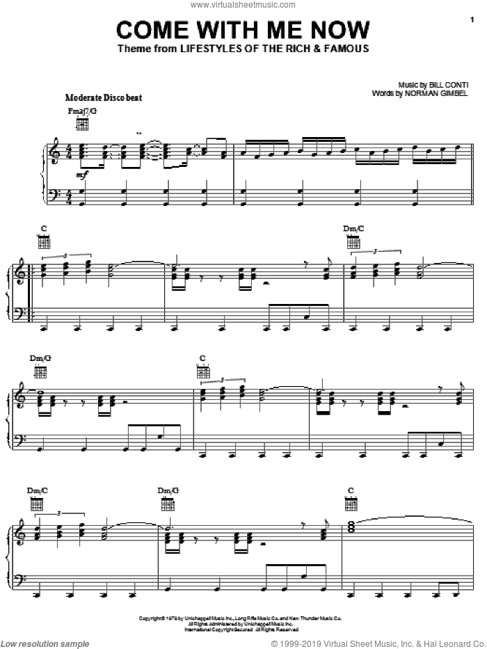 Come With Me Now sheet music for piano solo by Norman Gimbel and Bill Conti, intermediate skill level
