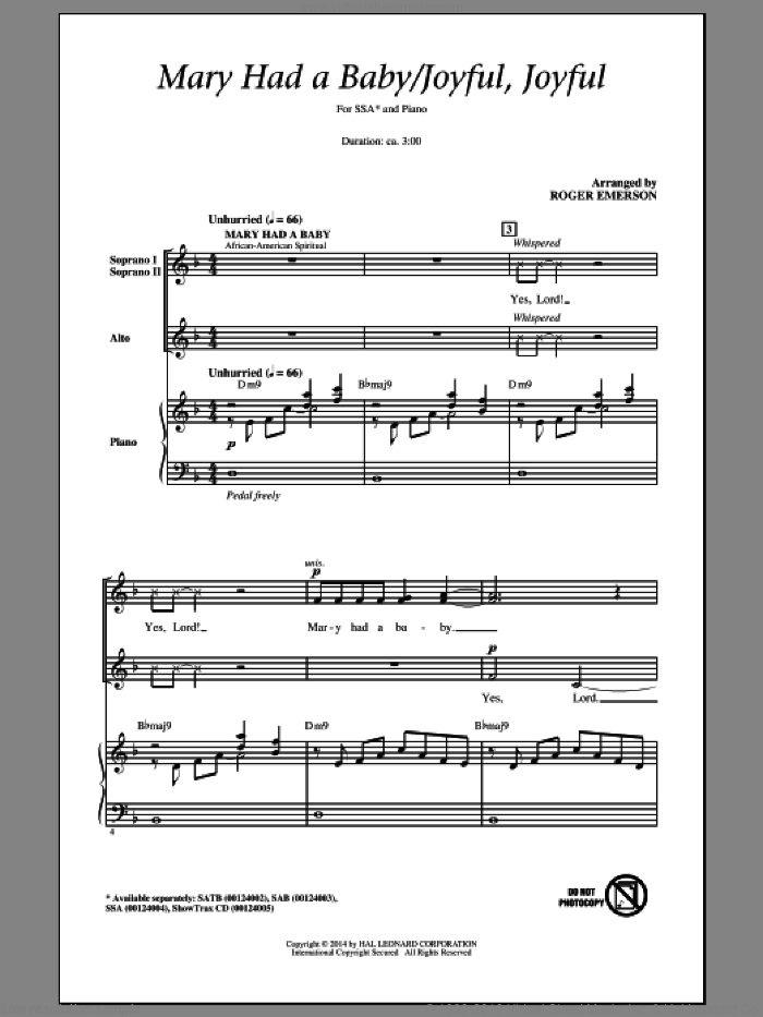 Joyful, Joyful, We Adore Thee sheet music for choir (SSA: soprano, alto) by Ludwig van Beethoven, Edward Hodges, Henry van Dyke and Roger Emerson, intermediate skill level