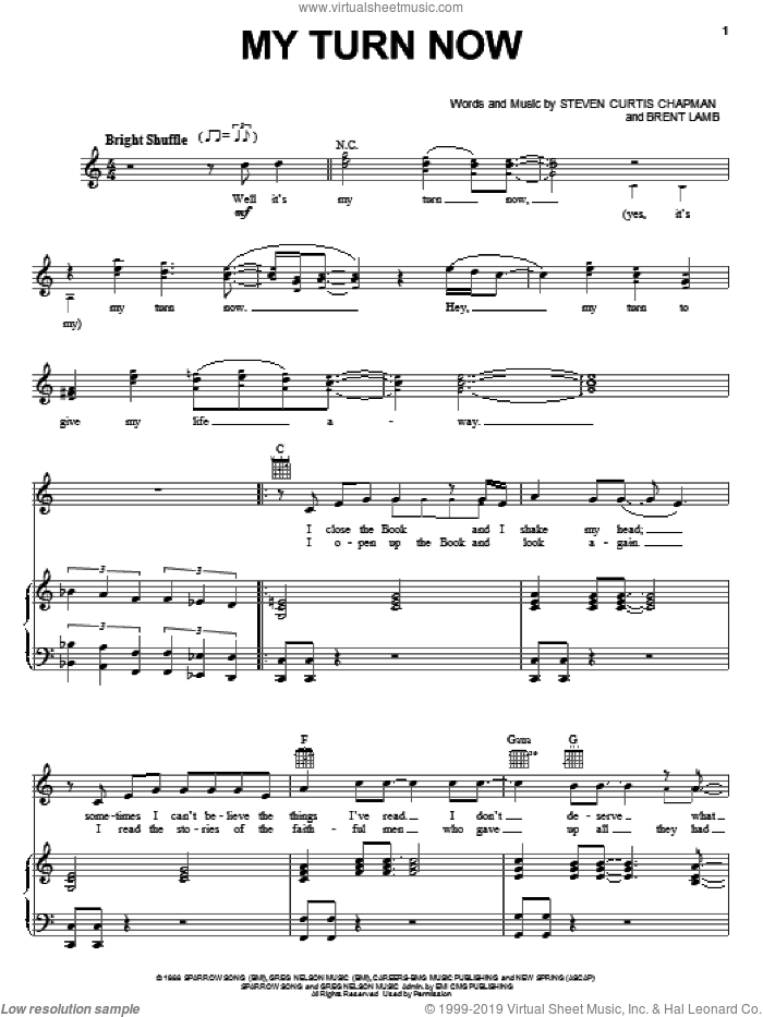 My Turn Now sheet music for voice, piano or guitar by Brent Lamb and Steven Curtis Chapman. Score Image Preview.