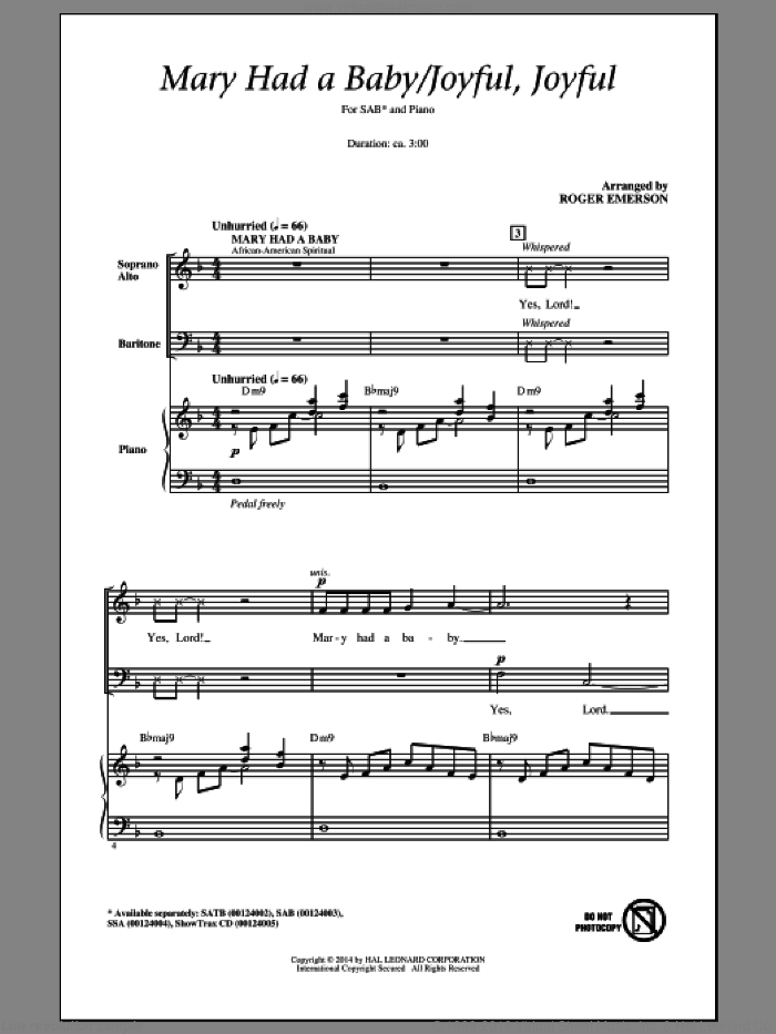 Joyful, Joyful, We Adore Thee sheet music for choir (SAB) by Ludwig van Beethoven, Edward Hodges and Roger Emerson, intermediate. Score Image Preview.