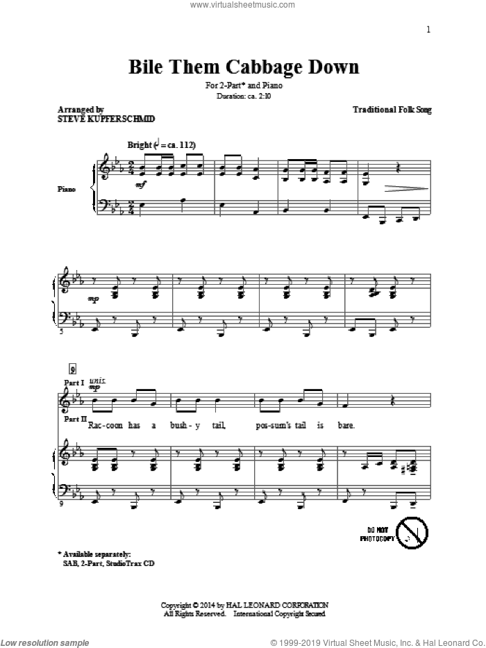 Boil Them Cabbage Down sheet music for choir (duets) by American Folksong and Steven Kupferschmid. Score Image Preview.
