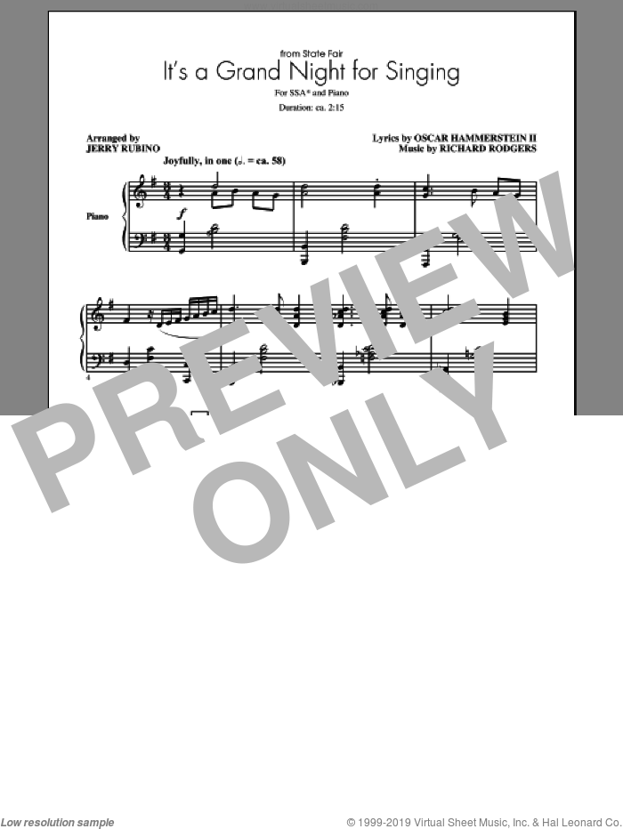 It's A Grand Night For Singing sheet music for choir (soprano voice, alto voice, choir) by Richard Rodgers, Jerry Rubino and Oscar II Hammerstein, intermediate choir (soprano voice, alto voice, choir). Score Image Preview.