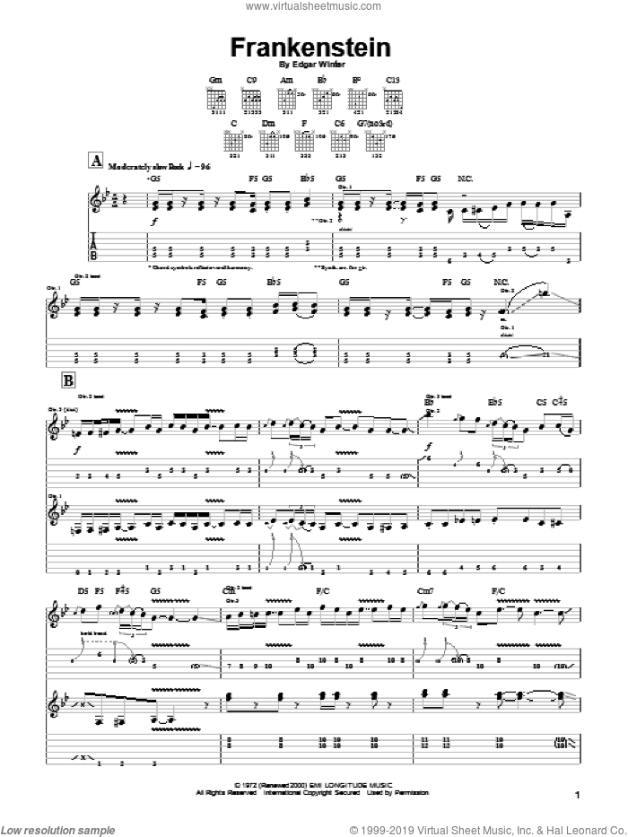 Frankenstein sheet music for guitar (tablature) by Edgar Winter and Edgar Winter Group. Score Image Preview.