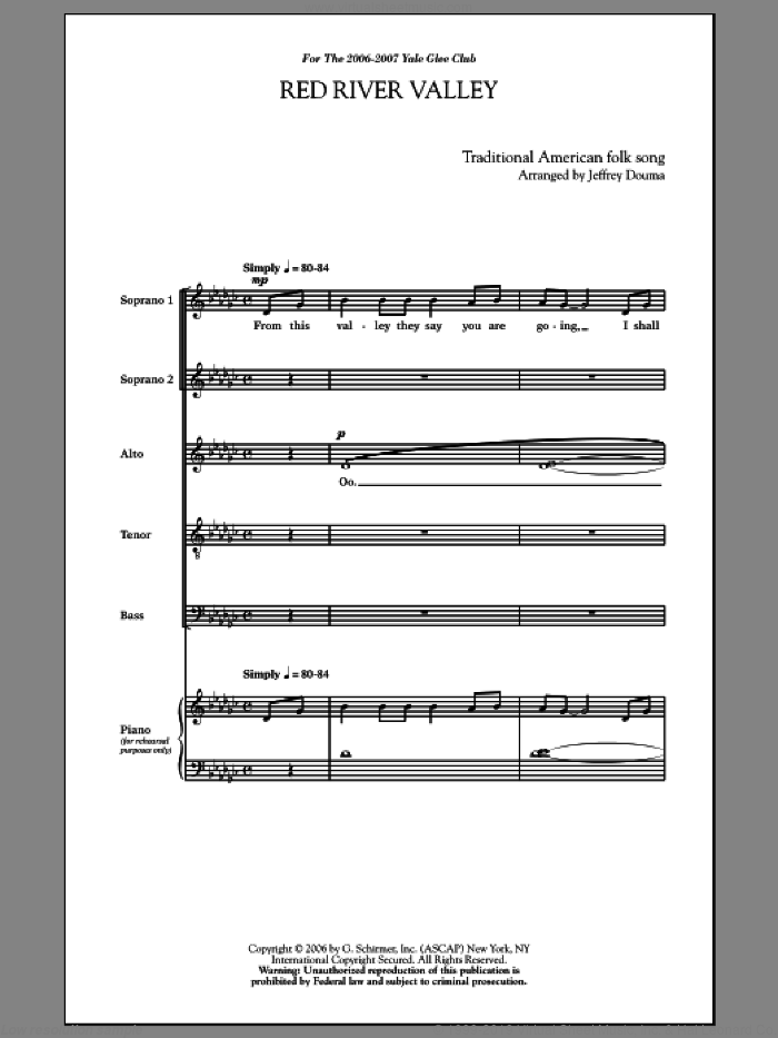 Red River Valley sheet music for choir and piano (SATB) by Songrey Douma. Score Image Preview.